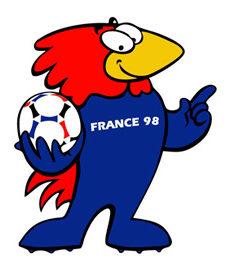 """Dessin de la mascotte de la coupe du Monde de foot de 1998 appelée """"Footix"""". C'est un coq qui porte un ballon de foot dans sa main."""