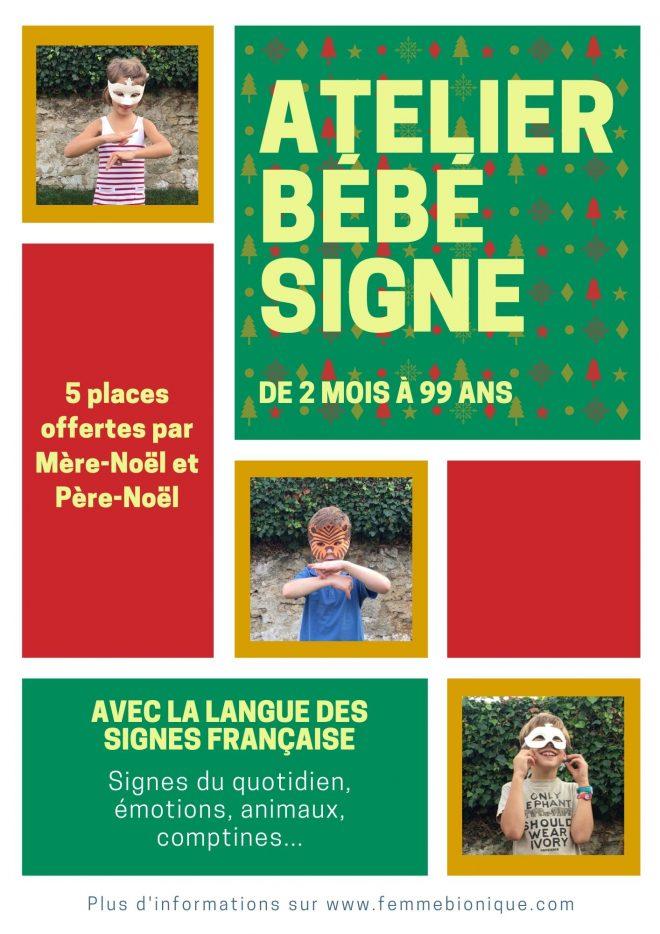 Début de la description de l'image. Bon cadeau de Noël pour offrir des places aux Ateliers Bébé Signe. Fin de la description de l'image.