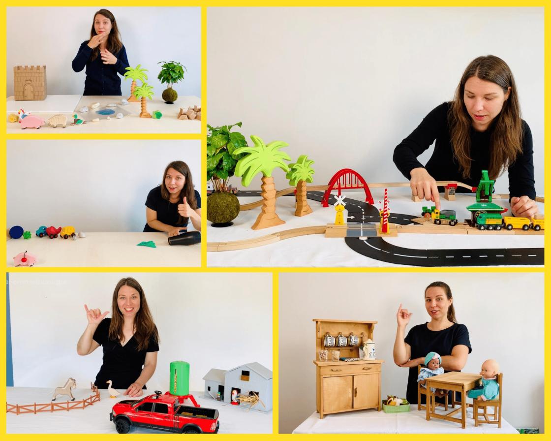 Début de la description de la photo. 5 photos de FemmeBionique en train signer des histoires différentes. Avec des poupées, des animaux en bois, des tracteurs. Fin de la description.