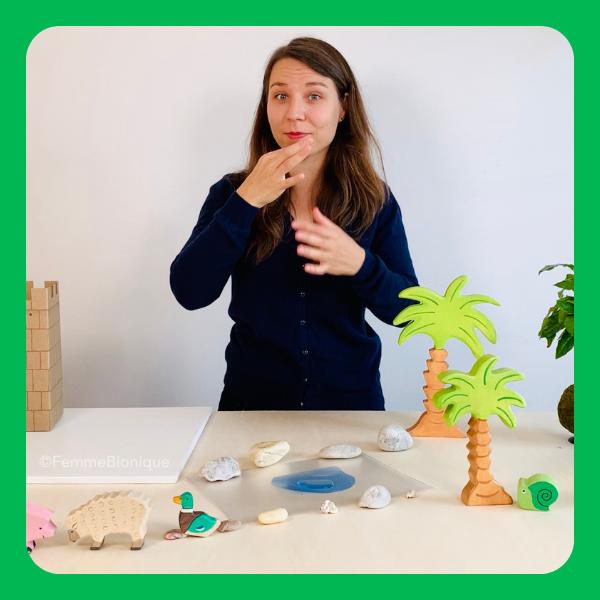 """Début de la description de la photo. Clara signe le mot """"raconter"""". Sur la table des jouets : animaux et palmiers. Fin de la description."""